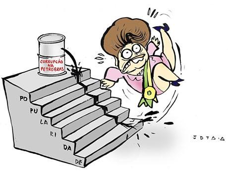 Charge: a popularidade de Dilma vai ao chão em meio ao Petrolão
