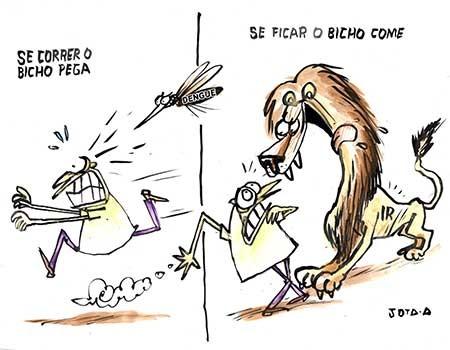 Charge:  Dengue, Imposto de Renda e a corrida dos cidadãos