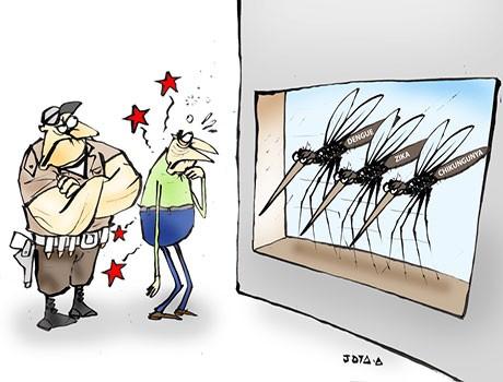 Charge: e agora os mosquitos se tornaram o terror da sociedade