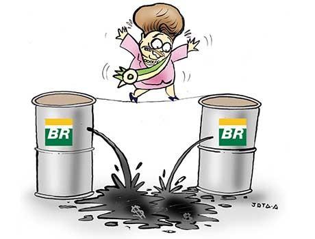 CHARGE: Dilma está por um fio após vazamento de corrupção na Petrobras